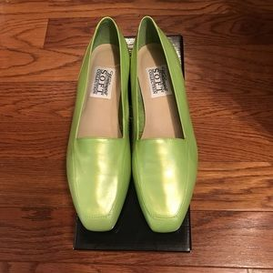 Lime Green Flat Leather Shoes NWT